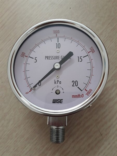 Đồng hồ đo áp suất thấp 20Kpa mặt 100mm, chân đồng ren mạ kẽm