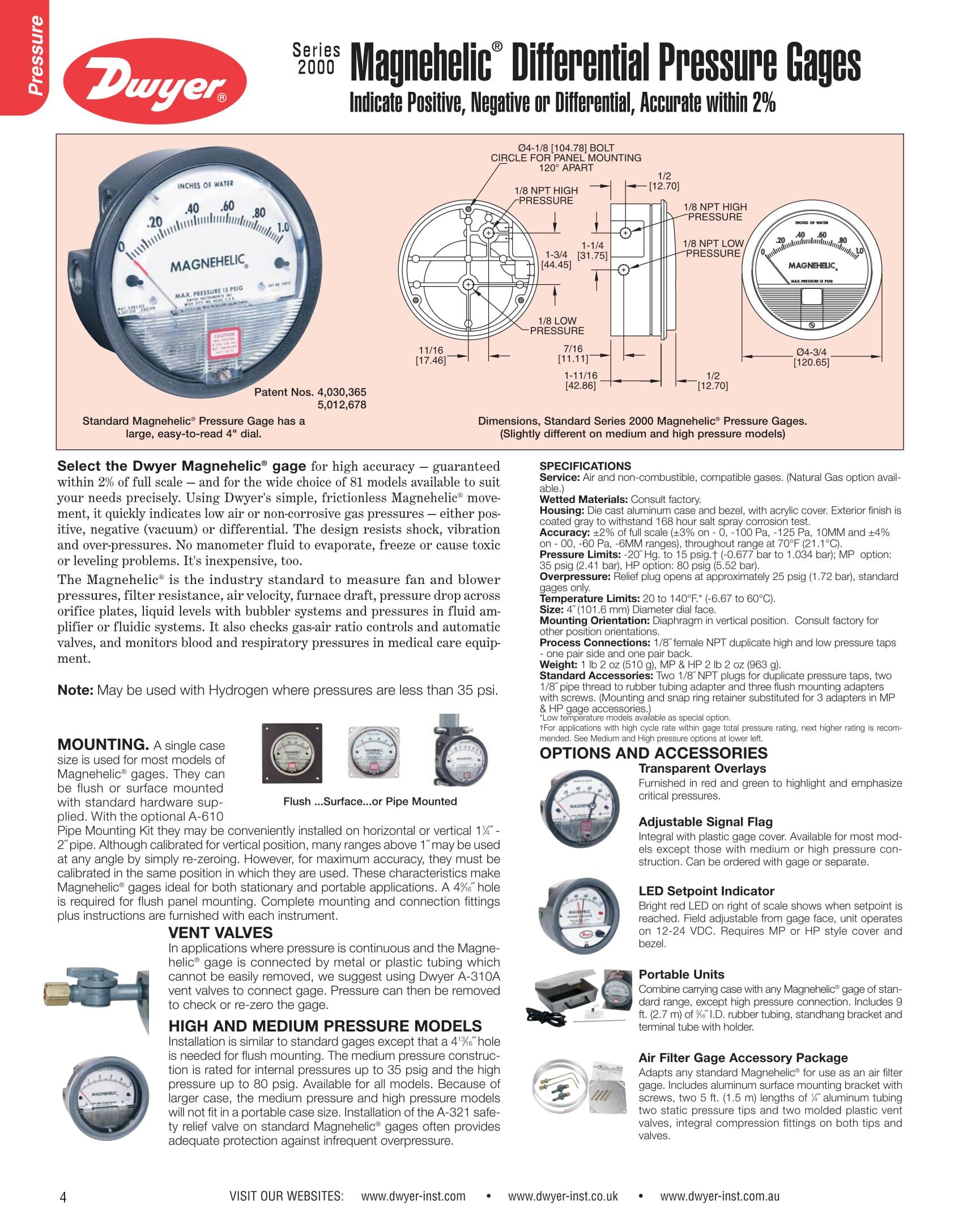 Thông số của đồng hồ đo chênh áp