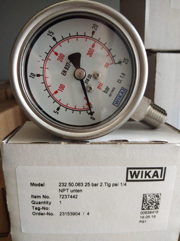 Đồng hồ áp suẩ wika 232.50 63mm, 25kg/cm2