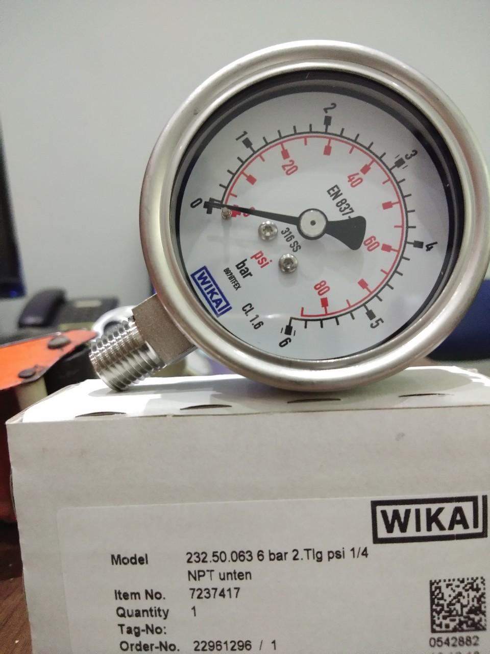 Đồng hồ áp suất wika 232.50 phi 63mm
