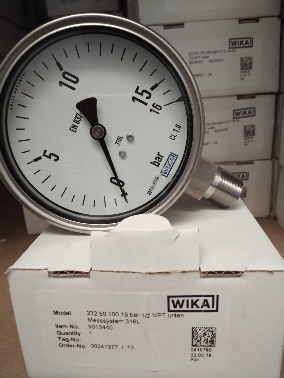 Đồng hồ áp suất WIKA 232.50.63 chân đứng 0-16 bar