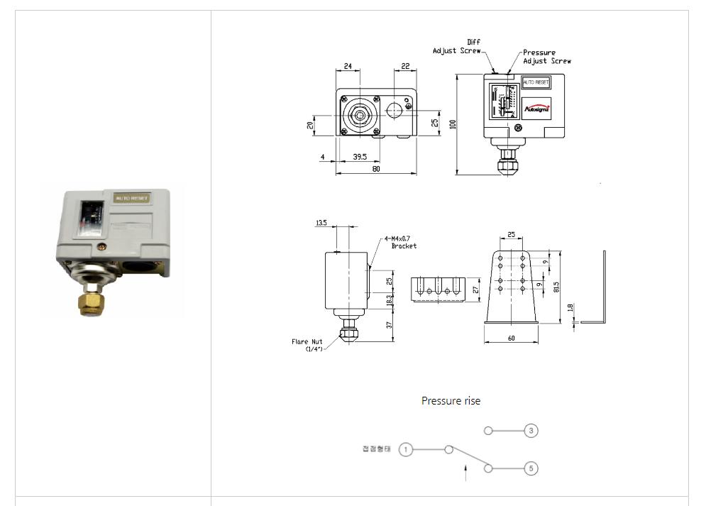 Thông số kỹ thuật của Công tắc áp suất Autosigma HS210
