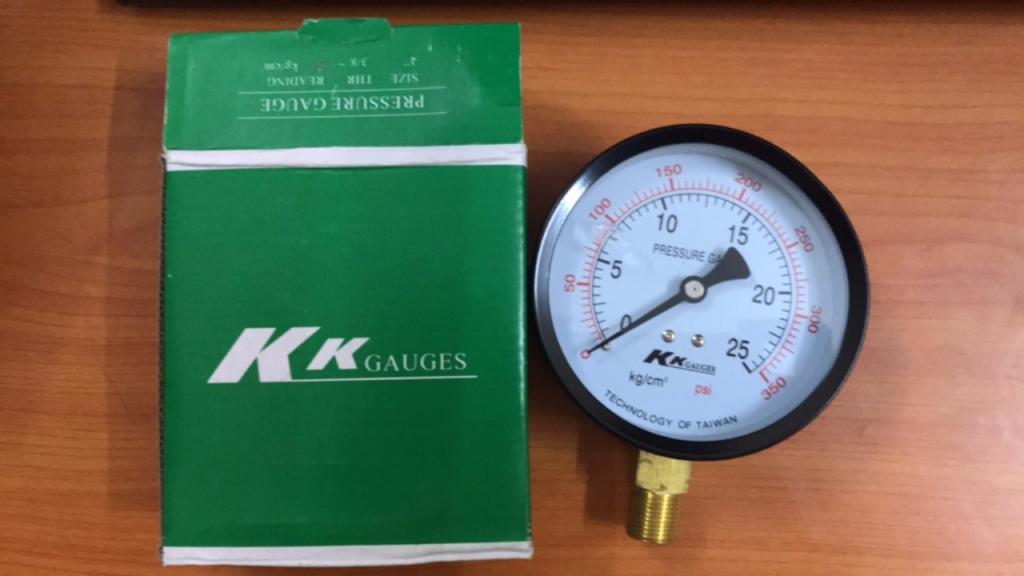Đồng hồ đo áp suất KK Gauge 0-25kg mặt 63mm