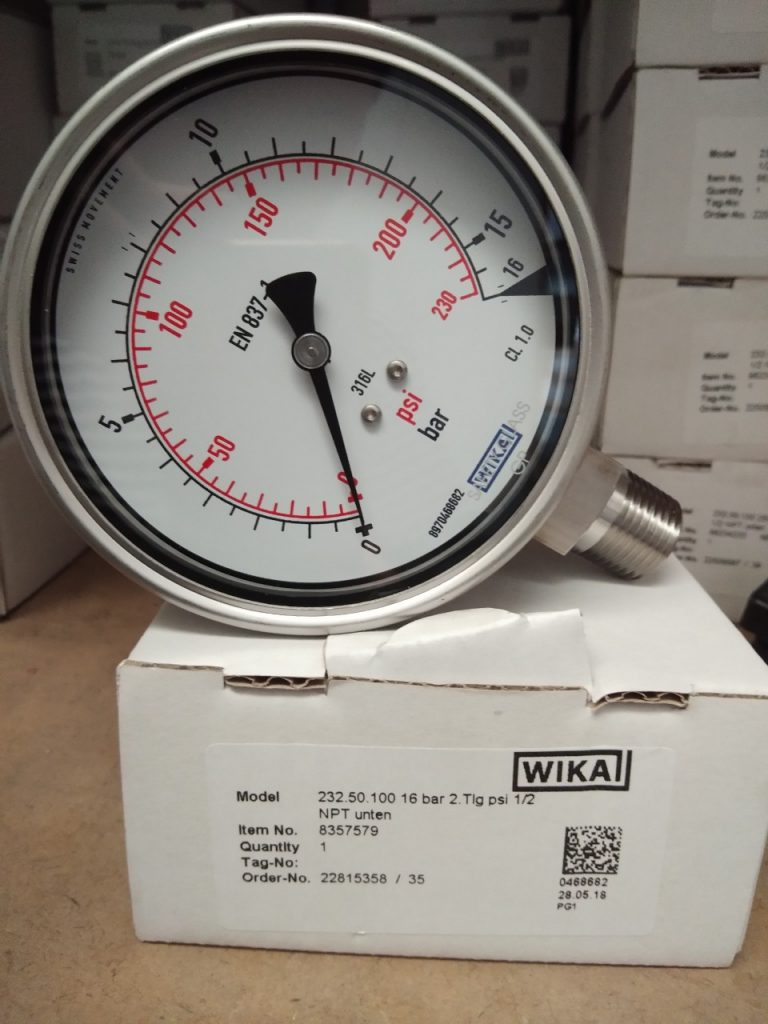 Đồng hồ đo áp suất 16 bar, Hiệu WIKA - Đức mặt 100, inox toàn bộ