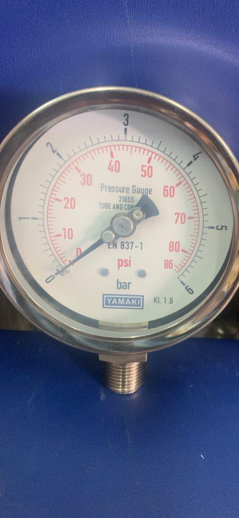 Đồng hồ áp suất Yamaki inox toàn bộ, mặt 100nn, 0-6 bar