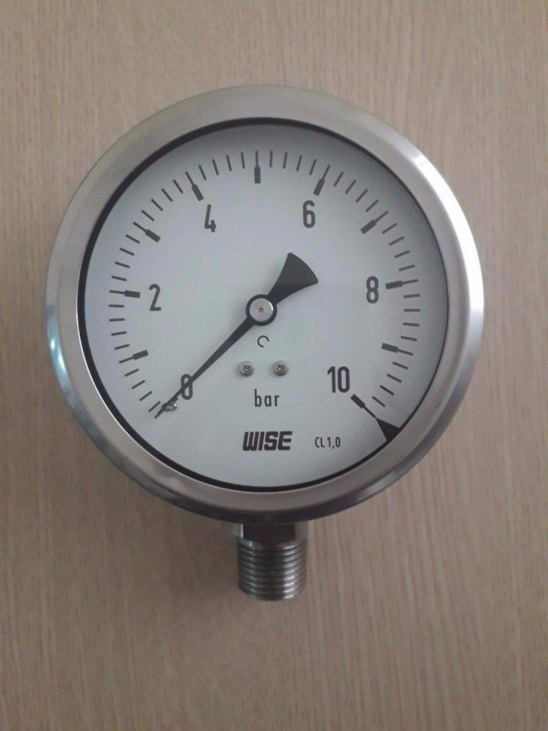 Đồng hồ áp suất Wise P255 mặt 100mm 0-10 bar