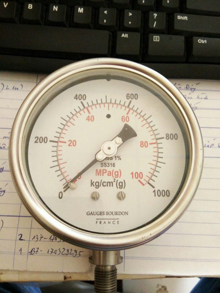 Đồng hồ đo áp suất 0-100MPA (0-1000 kg/cm2), hàng chính hãng GB -Pháp