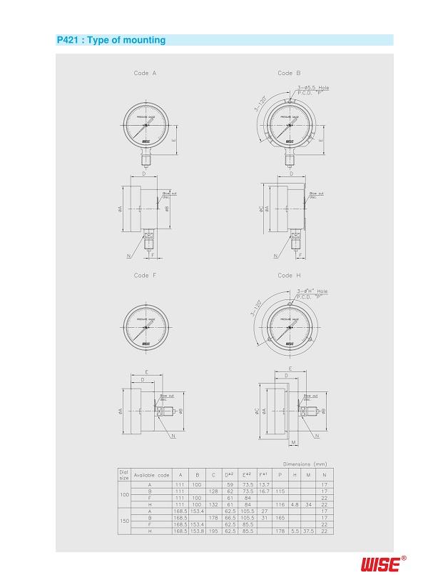 Thông số và cấu tạo của đồng hồ áp suất Wise P421