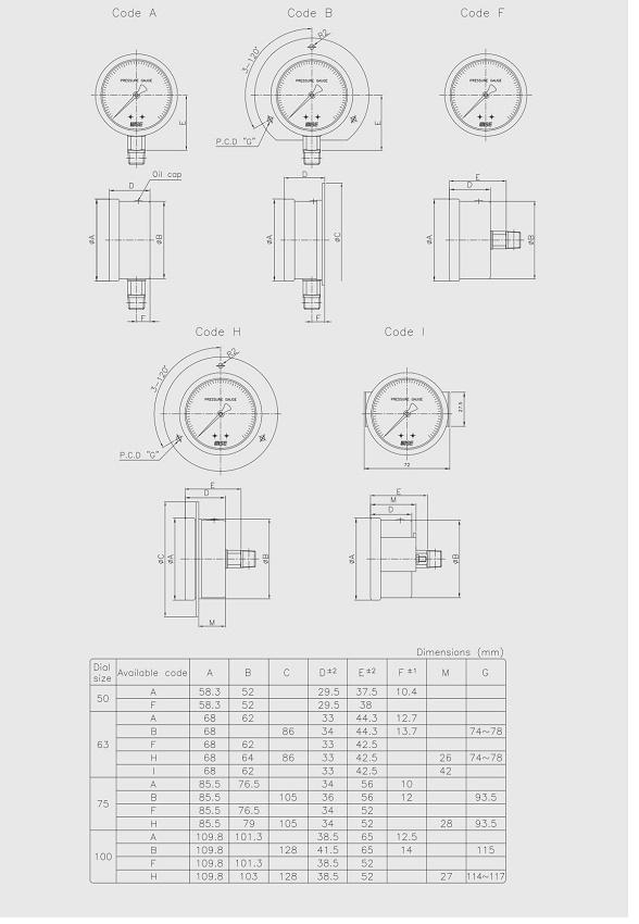 Thpng số kỹ thuật và cấu tạo của đồng hồ áp suất wise P254