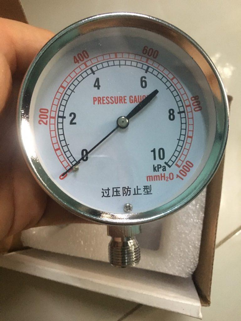 Đồng hồ đo áp suất thấp 10Kpa mặt 100mm
