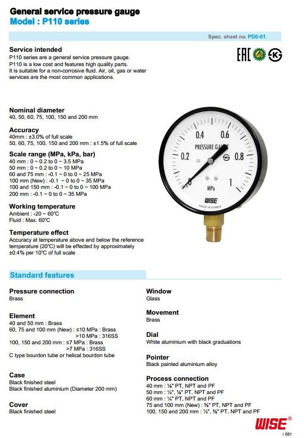 Thông số kích thước của đồng hồ áp Wise P110