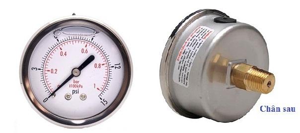 Đồng hồ đo áp suất chân sau, chân chính giữa, không vành