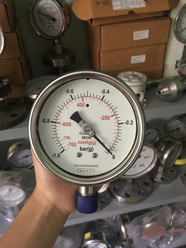 Đồng hồ áp suất hút -1 -0 bar, mặt phi 100mm