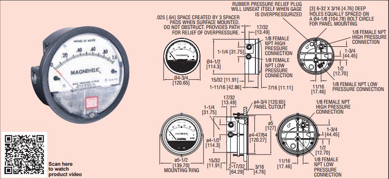 Thông số kỹ thuật của đồng hồ chênh áp Dwyer