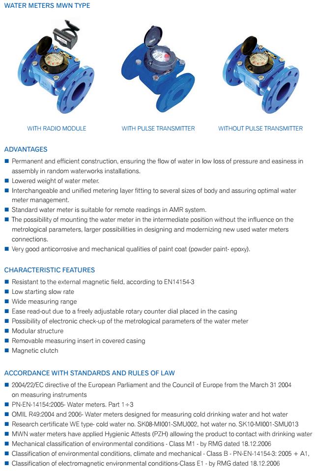 thông số đồng hồ đo lưu lượng nước thải powogaz