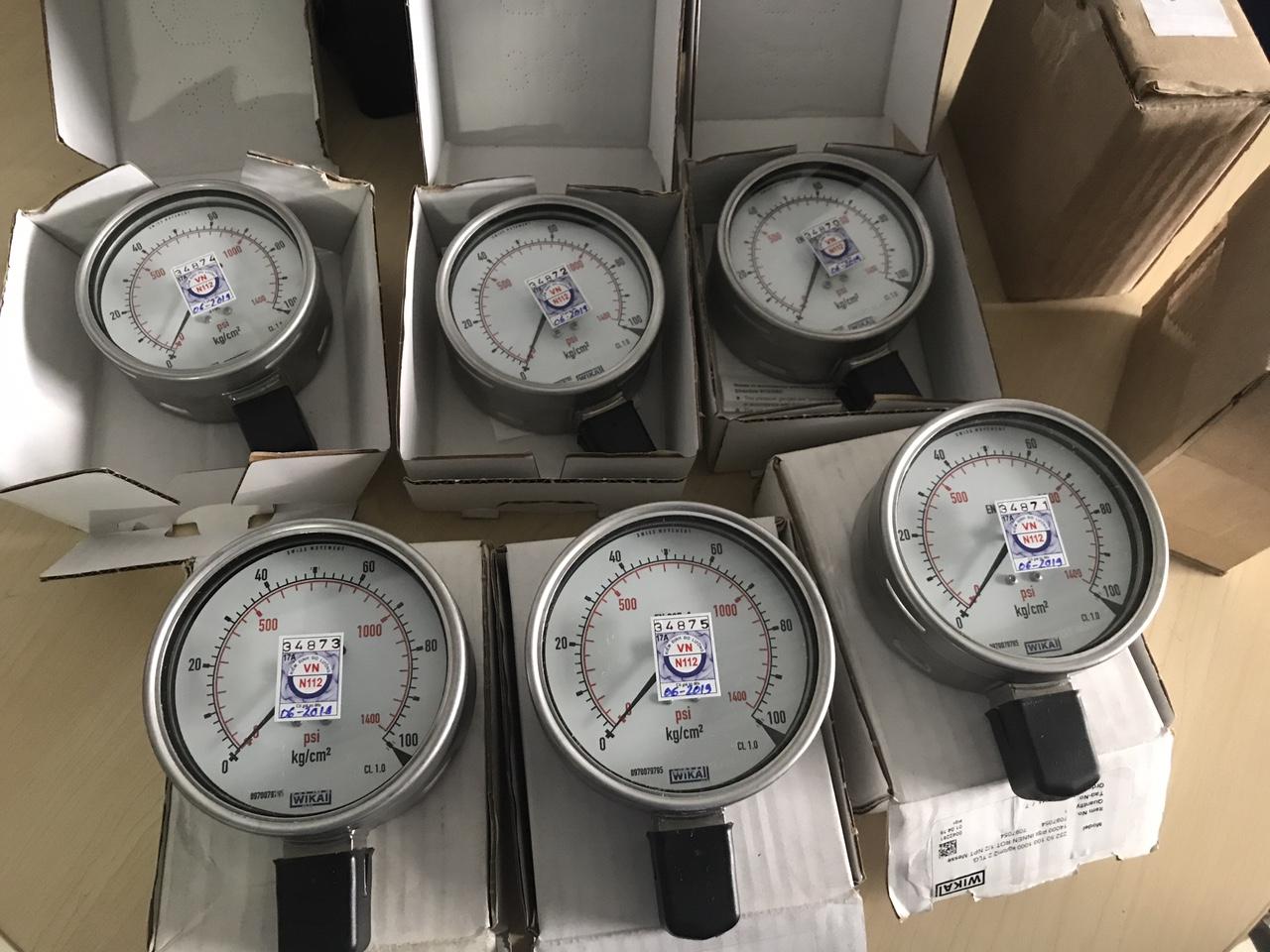 Đồng hồ áp suất wika 232.50 mặt 100mm inox toàn bộ