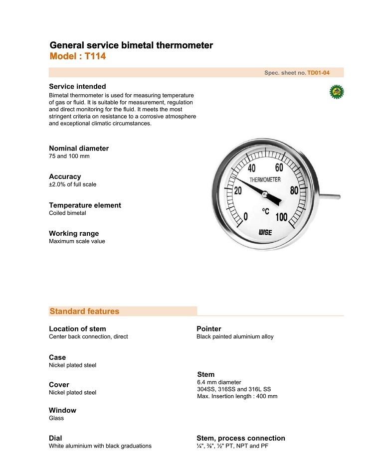 Thông số của đồng hồ nhiệt T114