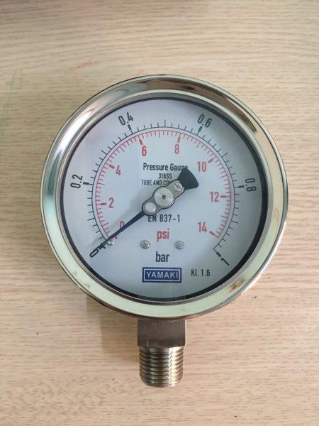 Đồng hồ áp suất Yamaki mặt 100mm, 0-1bar. vỏ inox chân inox 316