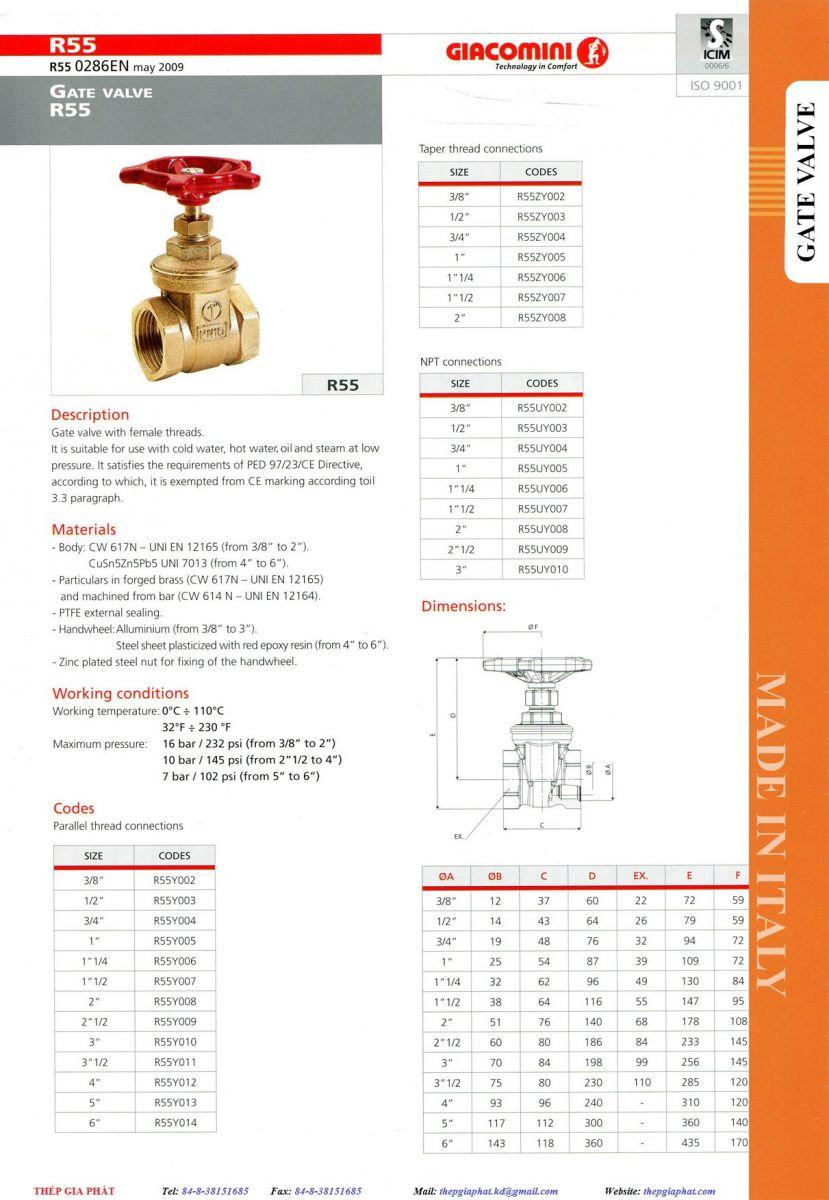 Thông số của van cửa Giacomini R55